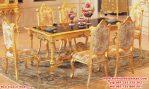 kursi meja makan klasik ukiran gold