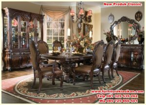 meja makan jati ukiran elegant