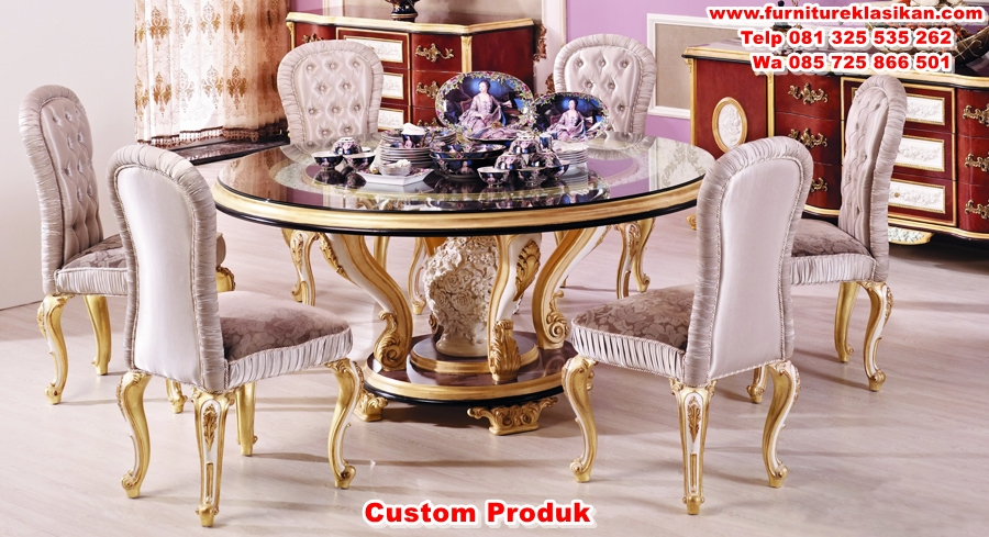 luxury-European-style-woodcarving-Round-Dining-Table meja makan luxury terbaru
