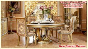 meja makan klasik daun marmer