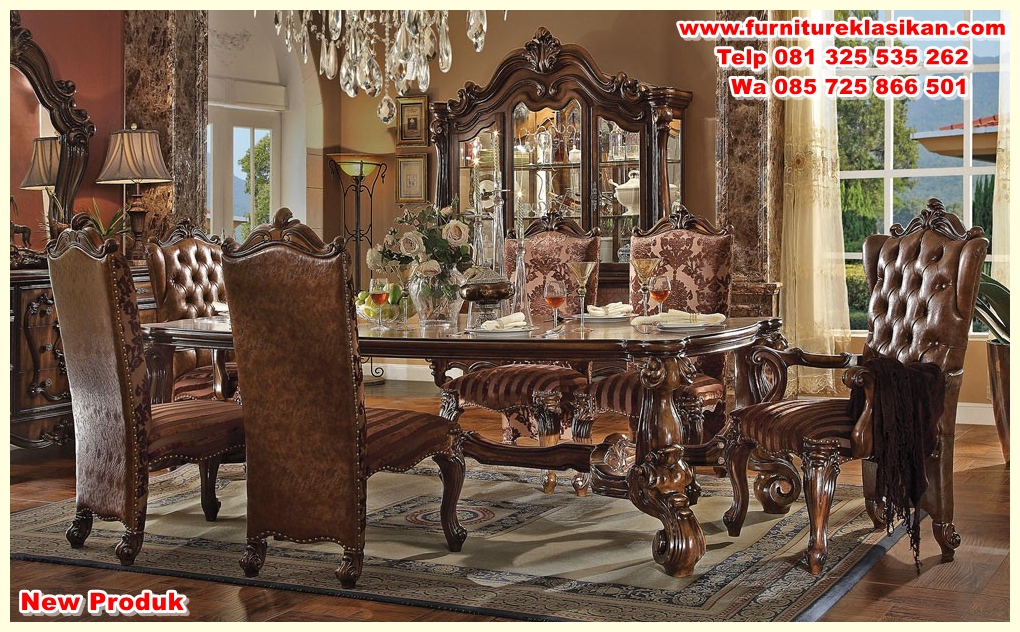 marlyn-traditional-style-dining-table-set meja makan jati ukiran terbaru