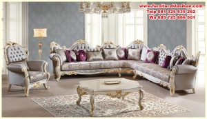 sofa tamu ukiran model sudut mewah