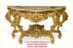 meja consol ukiran warna gold marmer