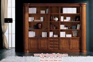 lemari buku jati minimalis terbaru
