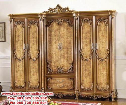 Classic-Furniture-Wooden-Wardrobe-with-Artistic-Hand-Carved lemari pakaian jati ukir 6 pintu mewah