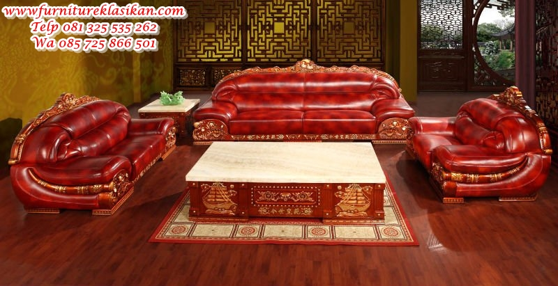 sofa tamu klasik ukiran mewah