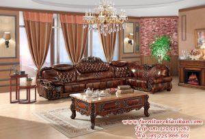 sofa tamu jati model sudut klasik