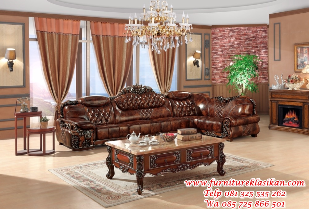 European-leather-sofa-set-living-room-sofa-China-wooden-frame-L-shape-corner-sofa-luxury-large sofa tamu jati model sudut klasik