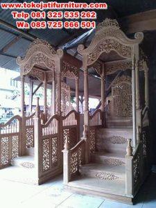 mimbar jati ukiran model masjid