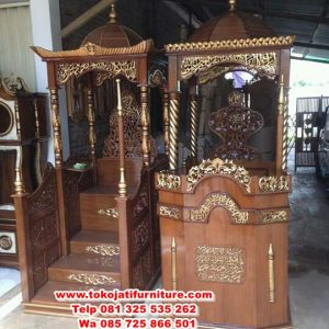 mimbar masjid jati desain kubah ukiran