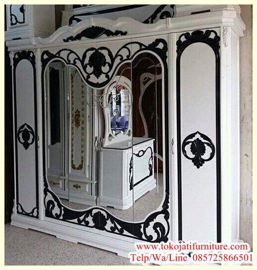 Lemari-Pakaian-6-Pintu-Ukiran-Duco-Putih Lemari Pakaian 6 Pintu Ukiran Duco Putih