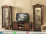 bufet tv jati antik model lemari hias ukiran
