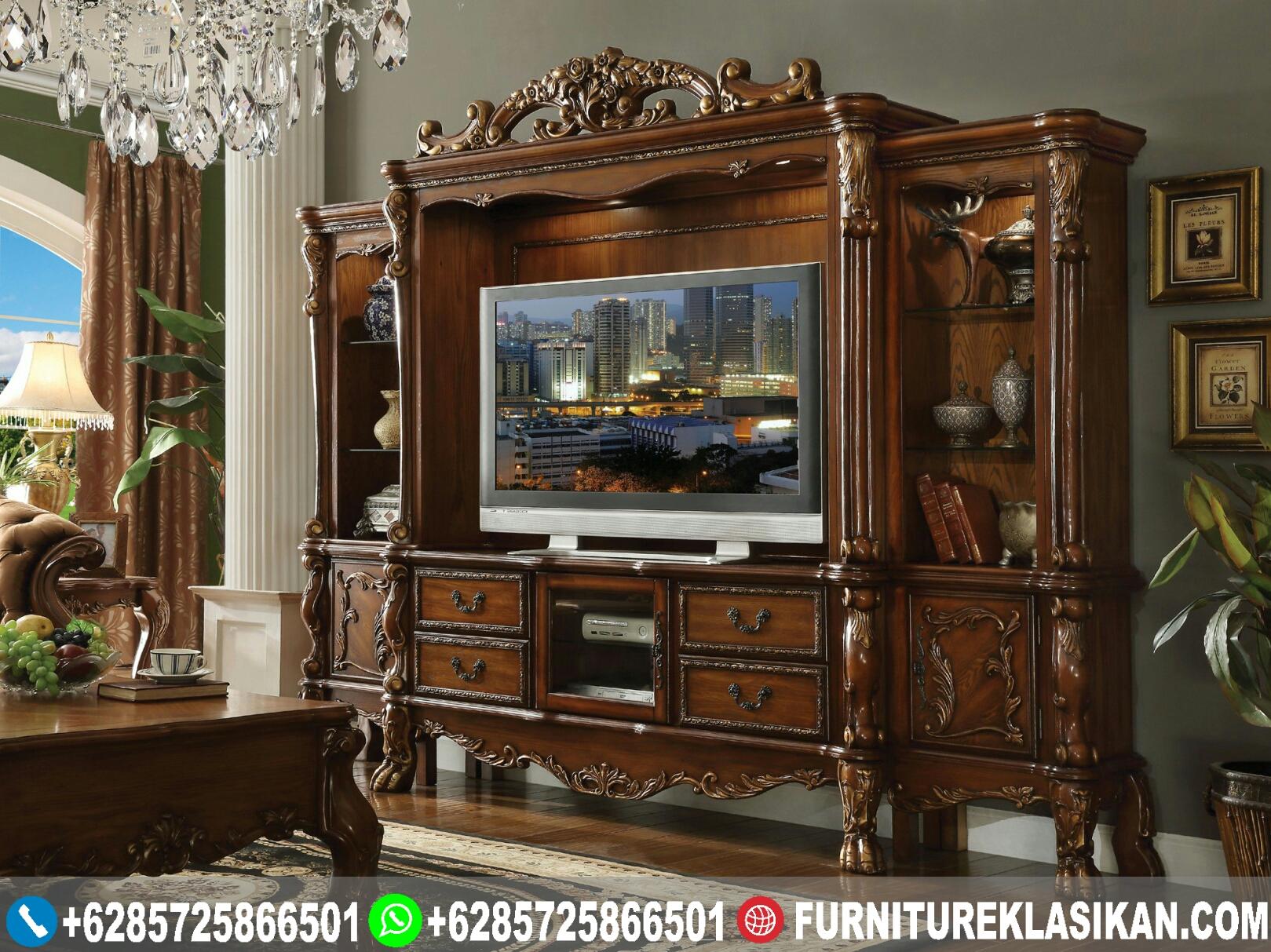 bufet-tv-jati-lemari-pajangan-natural-classic bufet tv jati lemari pajangan natural classic