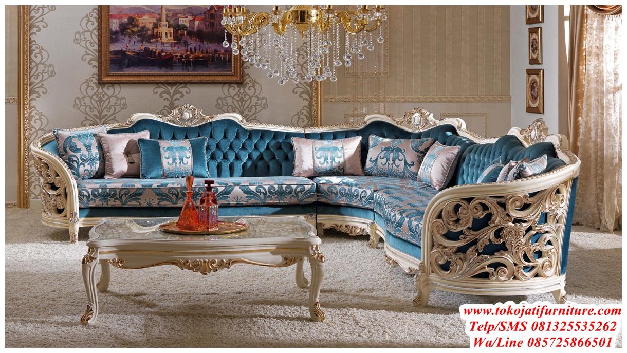 Kursi Tamu Sofa Sudut Ukiran Desain Furniture Jepara Ukiran Klasik