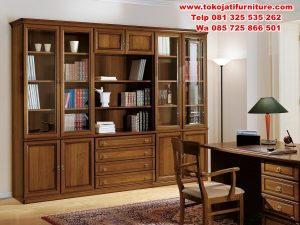 lemari-buku-jati-hias-pajangan-mewah-modern