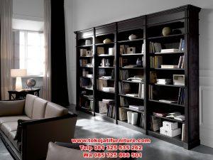 lemari buku jati minimalis modern
