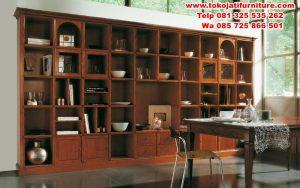 lemari buku jati minimalis perpustakaan