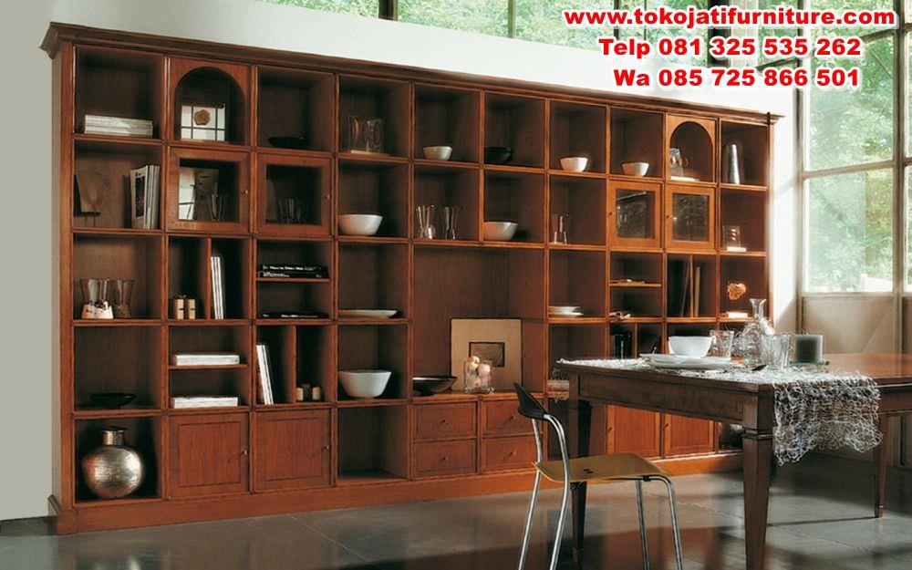 lemari-buku-jati-minimalis-perpustakaan lemari buku jati minimalis perpustakaan