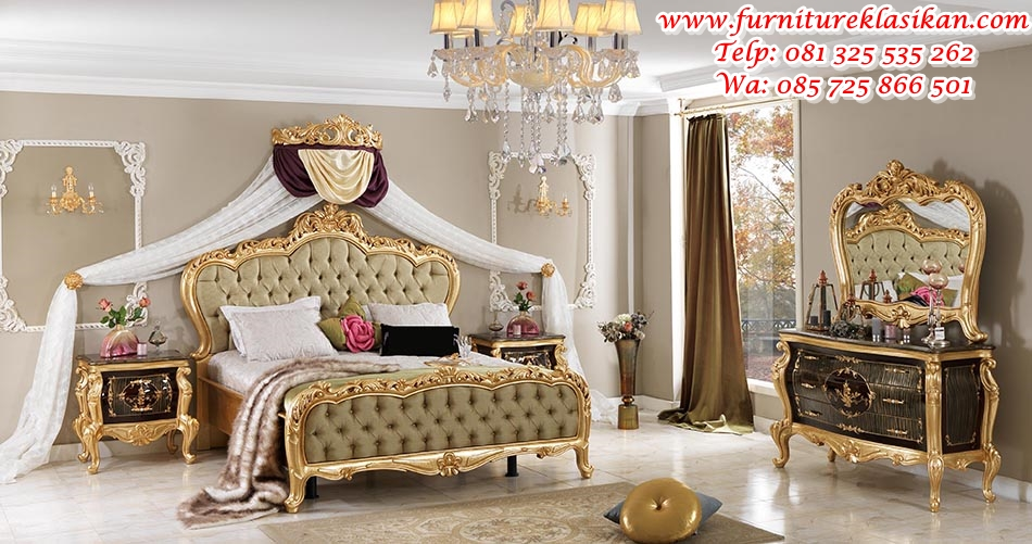 saltanat tempat tidur ukiran warna gold