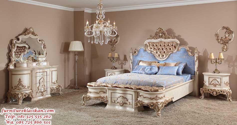 tempat tidur ukiran rococo mewah