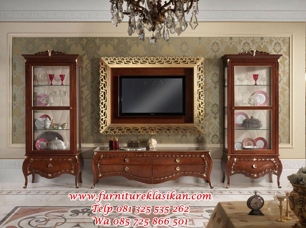 soggiorno-classico-noce-massello bufet tv jati classico modern